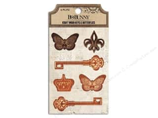 Bo Bunny Kraft Wood Elements Keys & Butterflies