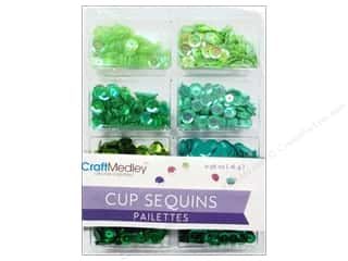 Multi's Embellishment  Yarn New: Craft Medley Cup Sequins 7 mm Go Green 0.56 oz.