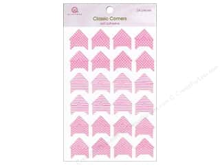 Cabbage Rose Border Stickers / Corner Stickers: Queen&Co Photo Corners Pink