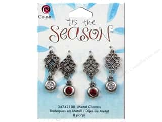 Cousin Charm Tis The Season Metal Scroll/Rhinestone 8pc