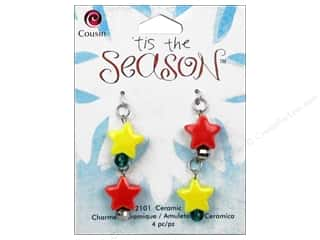 Cousin Charm Tis The Season Ceramic Stars 4pc