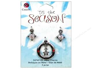 Cousin Charm Tis The Season Metal Round Star 3pc