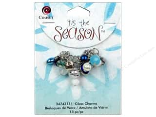 Cousin Charm Tis The Season Glass/Acrylic Blue Drop 13pc