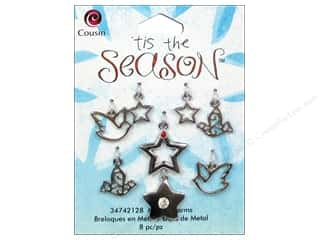 Cousin Charm Tis The Season Metal Dove/Star 8pc