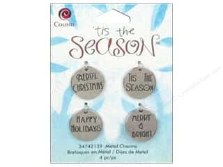 Cousin Charm Tis The Season Metal Round Tag 4pc