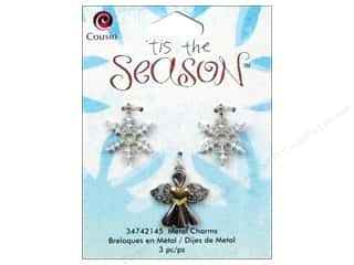 Cousin Charm Tis The Season Metal Angel/Snowflake 3pc