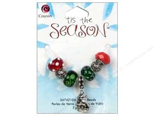 "Glass 7"": Cousin Tis The Season Christmas 2013 Bead Glass Large Hole Santa 7pc"