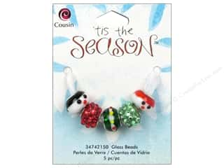Cousin Bead Tis The Season Glass Lg Hole Snowman