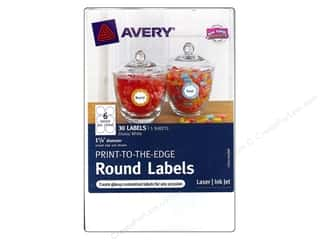Labels Office: Avery Print-To-The Edge Round Labels 1 5/8 in. Glossy White 30 pc.