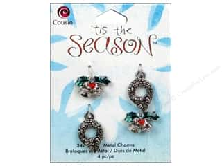 Bells Red: Cousin Tis The Season Christmas 2013 Charm Metal Wreath/Bell 4pc