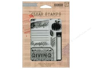 Feathers $5 - $9: BasicGrey Clear Stamps 9 pc. Persimmon Thankful
