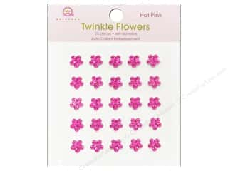 Rhinestones Flowers: Queen&Co Sticker Twinkle Flowers Hot Pink