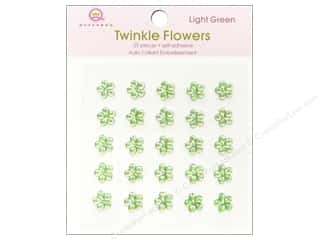 Rhinestones paper dimensions: Queen&Co Sticker Twinkle Flowers Light Green