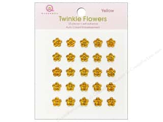 Rhinestones paper dimensions: Queen&Co Sticker Twinkle Flowers Yellow