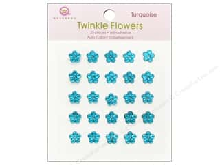 Queen & Company Papers: Queen&Co Sticker Twinkle Flowers Turquoise
