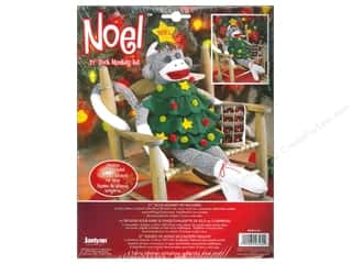 Projects & Kits Clearance Crafts: Janlynn Sock Monkey Kit 21 in. Noel