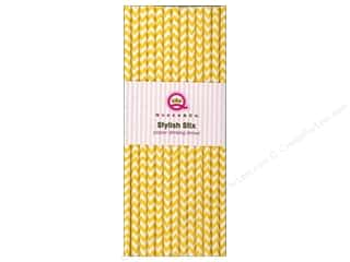 Baking Supplies Scrapbooking & Paper Crafts: Queen&Co Stylish Stix Chevron Yellow 25pc