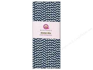 Baking Supplies Scrapbooking & Paper Crafts: Queen&Co Stylish Stix Chevron Navy 25pc