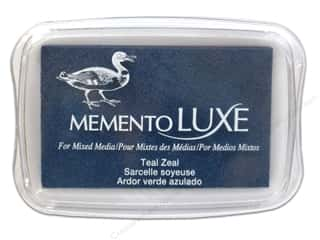 Stamping Ink Pads Fabric Painting & Dying: Tsukineko Memento Luxe Ink Pad Large Teal Zeal