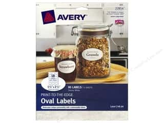 Avery Dennison Avery Glue Sticks: Avery Print-To-The Edge Oval Labels 1 1/2 x 2 1/2 in. Glossy White 90 pc.