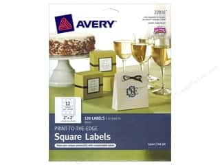 "Files 10"": Avery Print-To-The Edge Square Labels 2 in. Glossy White 120 pc."