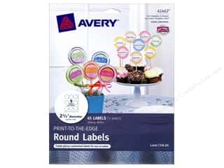 Avery Dennison 8.5 x 11: Avery Print-To-The Edge Round Labels 2 1/2 in. Glossy White 45 pc.