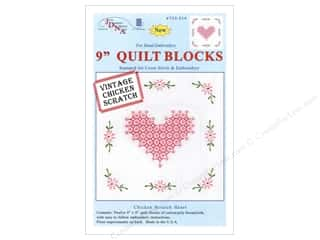 Jack Dempsey 9 in. Quilt Blocks 12 pc. Chicken Scratch Heart