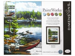 "Outdoors Paints: Paintworks Paint By Number 14""x 20"" Canoe By The Lake"
