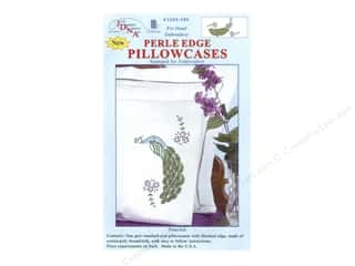 Jack Dempsey Jack Dempsey Pillowcase Perle Edge White: Jack Dempsey Pillowcase Perle Edge White Peacock