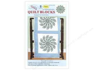 "Stamped Goods Stamped Quilt Blocks: Jack Dempsey Quilt Block 18"" 6pc White Peacock Feathers"