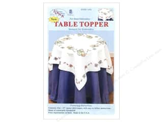 "square hoop: Jack Dempsey Table Topper White 35"" Fluttering Butterflies"