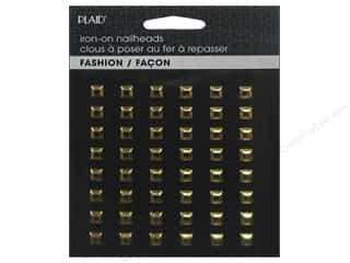 Plaid New: Plaid Iron On Hot Fix Nailhead Square Shiny Gold