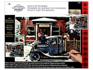 "Outdoors Crafting Kits: Plaid Paint By Number 20""x 16"" Saturday Evening Post Rural Post Office At Christmas"