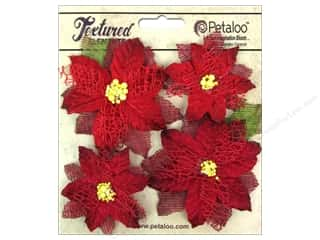 Flowers / Blossoms $5 - $6: Petaloo Textured Elements Poinsettias Red 4pc
