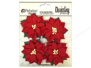 Petaloo Darjeeling Medium Poinsettias Red 4pc
