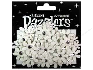 Petaloo Dazzlers Jeweled Florettes White 50pc
