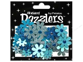 Petaloo Dazzlers Jeweled Florettes Teal 50pc