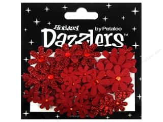 Petaloo Dazzlers Jeweled Florettes Red 50pc