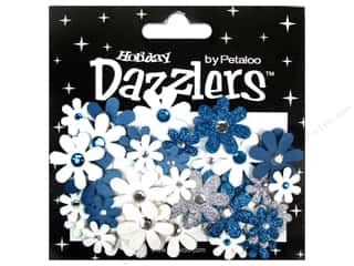 Petaloo Dazzlers Jeweled Florettes Bl/Slv/Wht 50pc