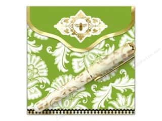 Lily McGee Green: Lily McGee Note Pad Matchbook with Pen Floral Green
