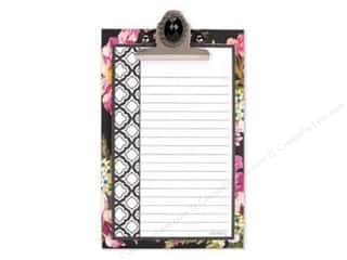 "Lily McGee 9"": Lily McGee Note Pad Jeweled Clipboard Floral Black"