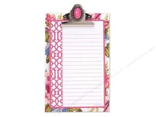 Lily McGee Note Cards: Lily McGee Note Pad Jeweled Clipboard Floral Pink