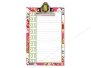 Lily McGee Green: Lily McGee Note Pad Jeweled Clipboard Floral Green