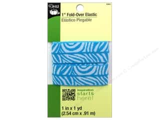 Fold-Over Elastic by Dritz Zebra Aqua/White 1 in x 1 yd