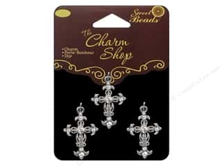Sweet Beads Charm Shop Charm Mtl Cross Slv 3pc