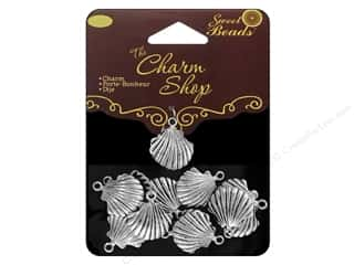 Beach & Nautical Beading & Jewelry Making Supplies: Sweet Beads Charm Shop Charm Metal Shell Silver 14pc