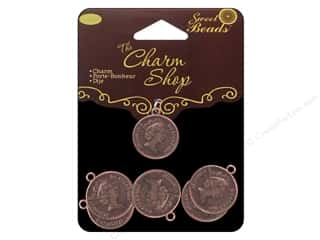 Sweet Beads Charm Shop Charm Mtl Coin Ant Cpr 6pc