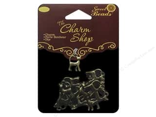 "Brass Rings 16"": Sweet Beads Charm Shop Charm Metal Cat Ox Brass 16pc"