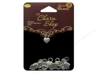 Quilter's Gift Shop Hearts: Sweet Beads Charms Metal Heart 15 pc. Silver