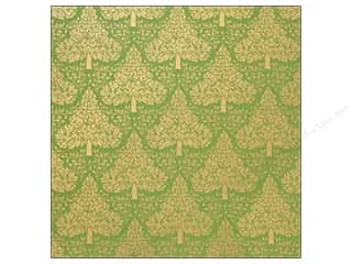Foil Green: Anna Griffin 12 x 12 in. Cardstock Emerald Forest Gold Foil Trees (25 pieces)